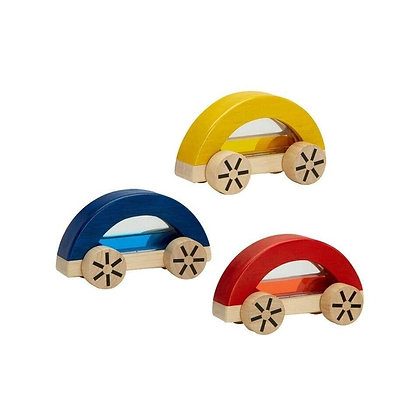 Water Filled Wooden Toy Cars for Kids in Red Blue and Yellow