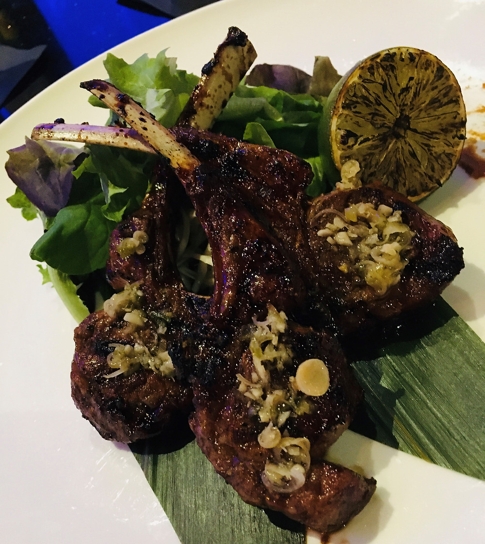 Grilled lambchops with red miso and lime