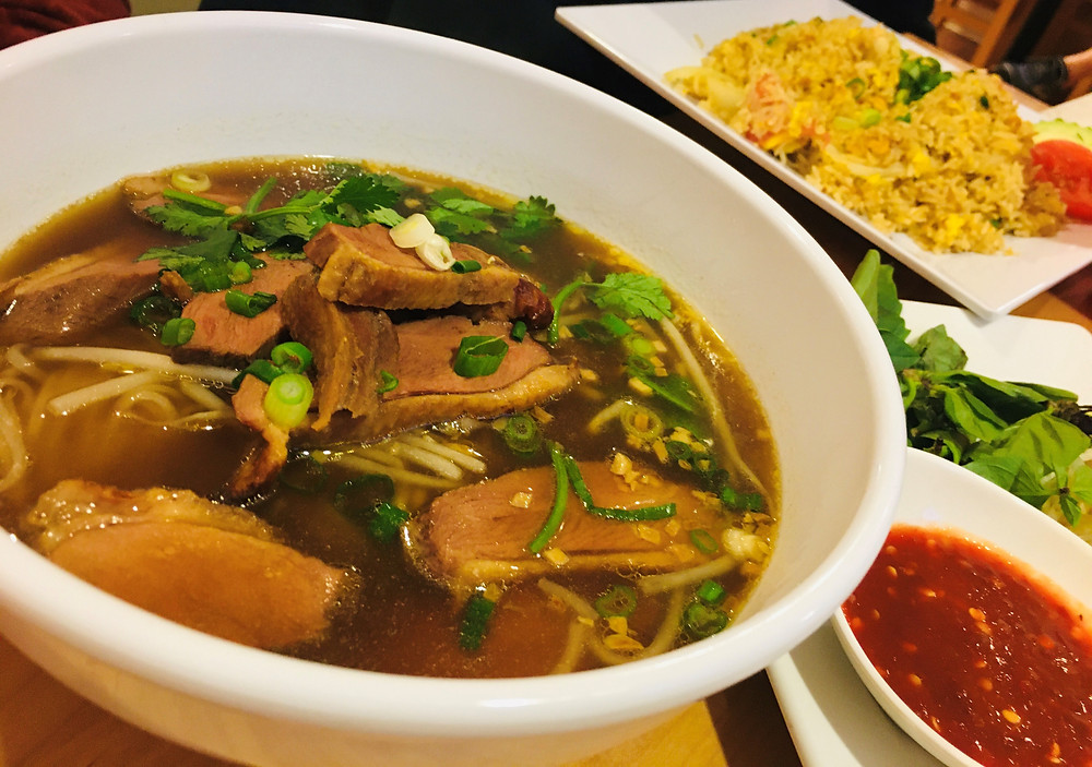 Duck Noodle Soup with Crab-Fried Rice