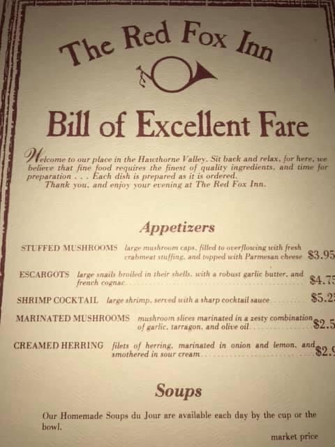 Old menu from The Red Fox Inn