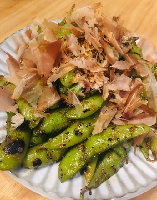 Edamame with dried bonita flakes