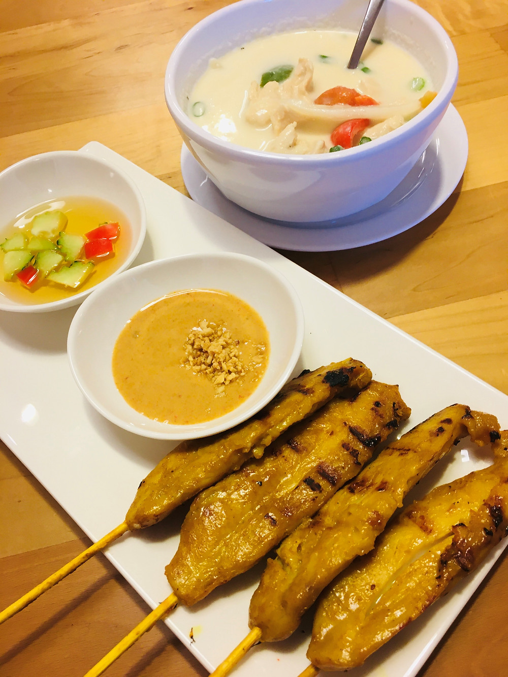 Chicken Satay & Tom Kha Soup