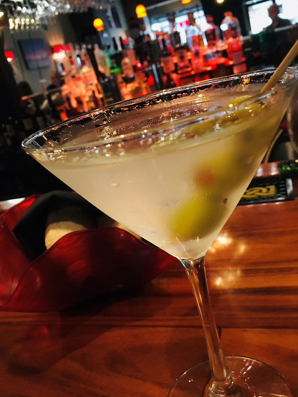 Ketel One martini up, dusty, big fat olives
