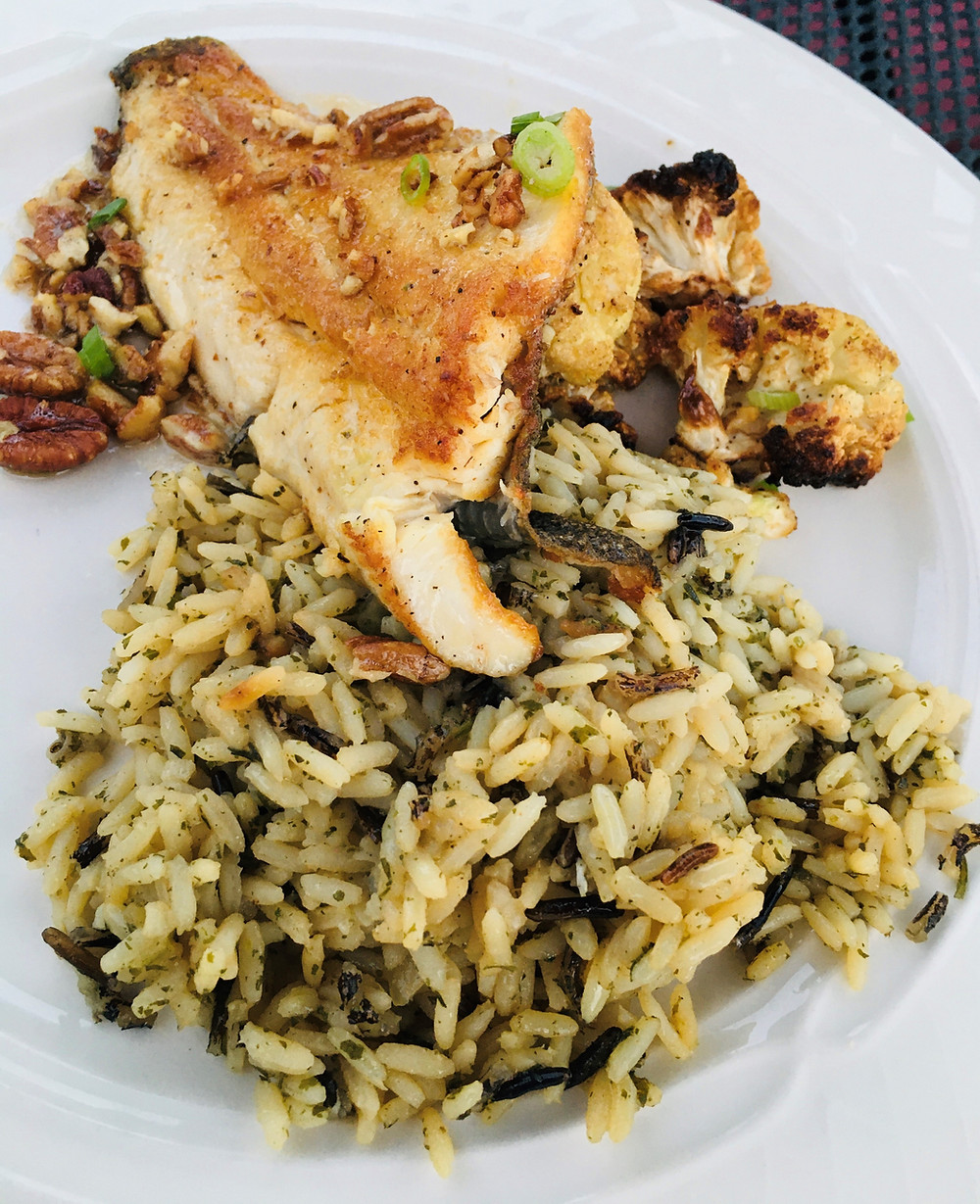 Fresh Trout with Pecan Rice Pilaf