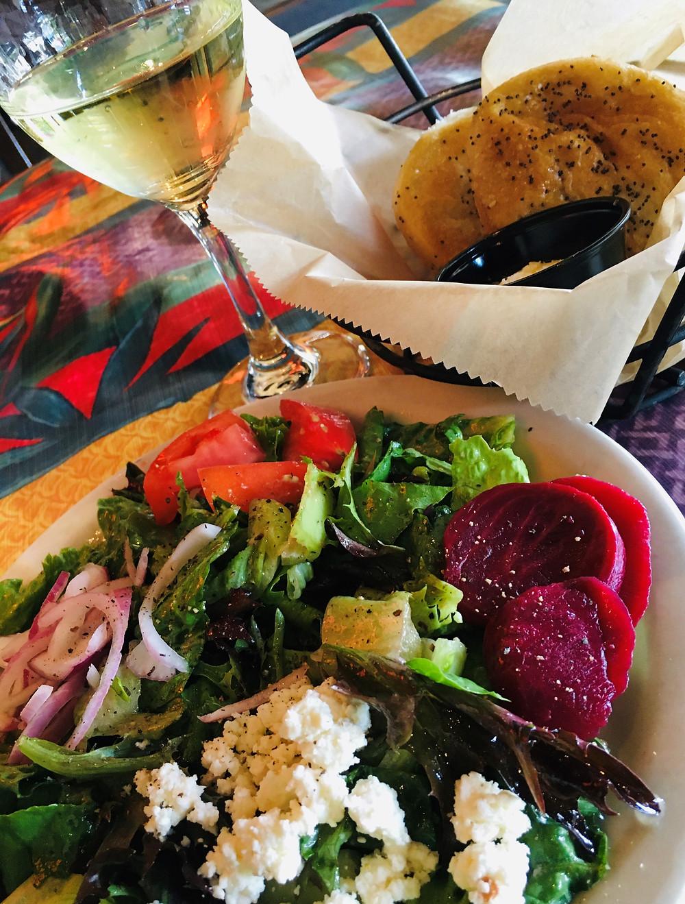 Greek Salad & Poppyseed Rolls at Tidewater