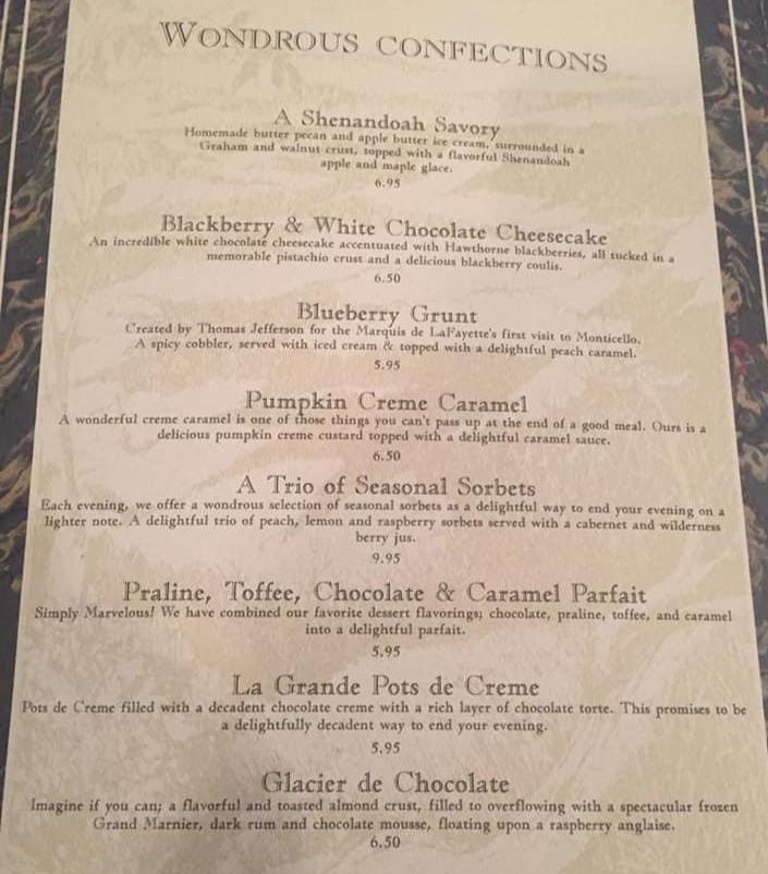 Dessert menu from The Red Fox Inn