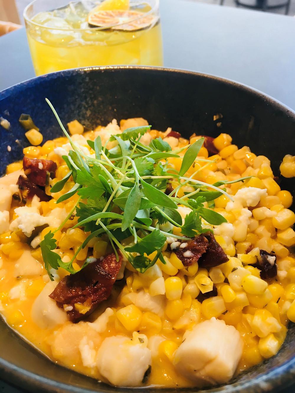Corn, Scallops and Chorizo with Fresh Herbs