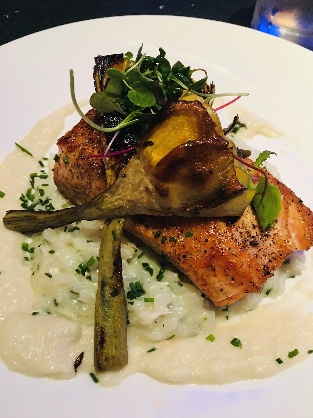 Salmon with Roasted Artichokes over Risotto