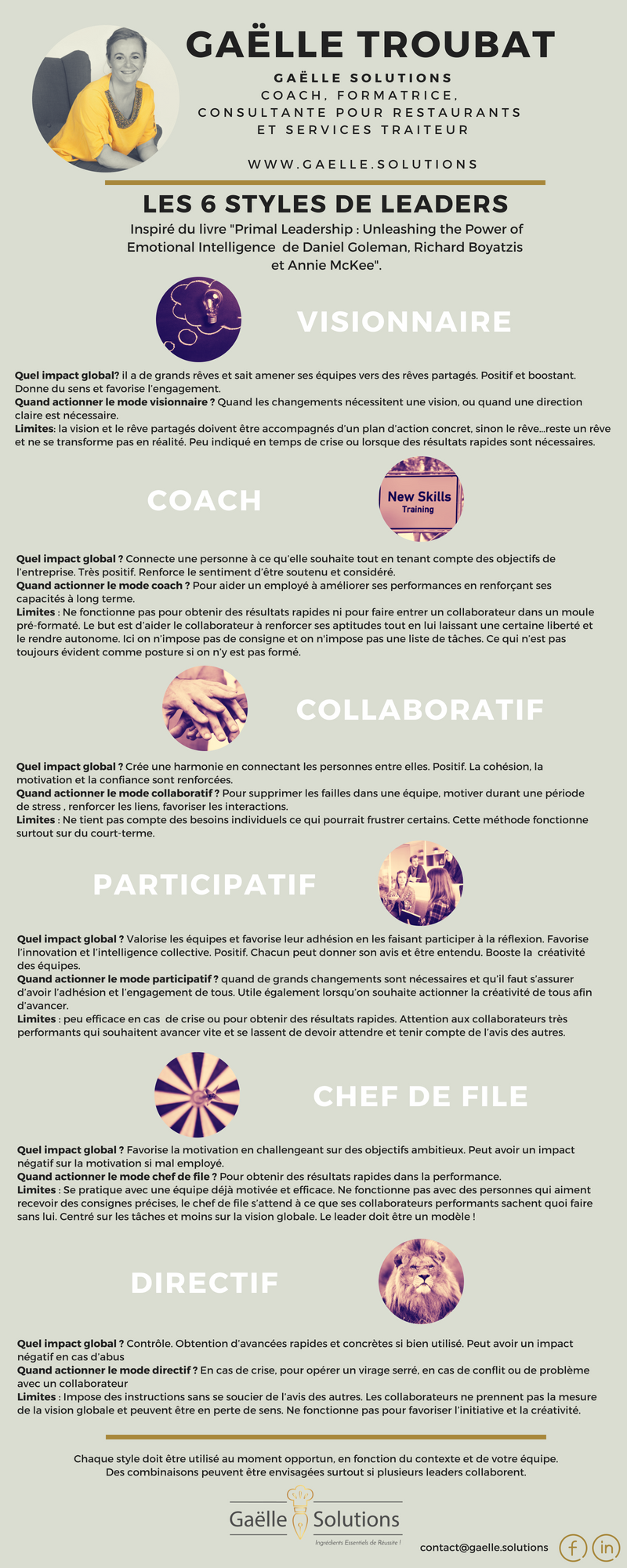 Gaëlle Troubat - Gaëlle Solutions - infographie 6 styles de leaders