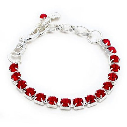 One Row Crystal Dog Necklace Red