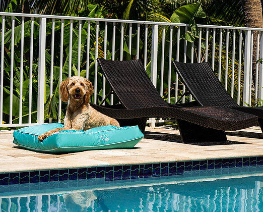 PupLounge Indoor Outdoor Memory Foam Dog Bed Aqua Blue