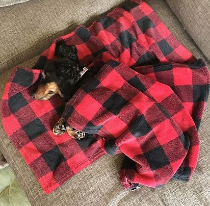 Hunter's Plaid Dog Blanket Red/Black