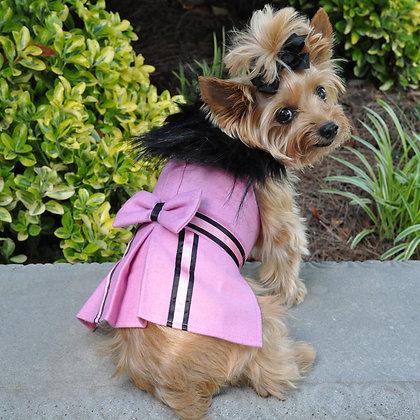 Wool Fur Trimmed Dog Harness Coat Pink