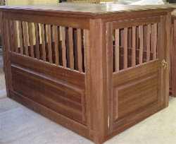 Wood Dog Crate Mahogany Small