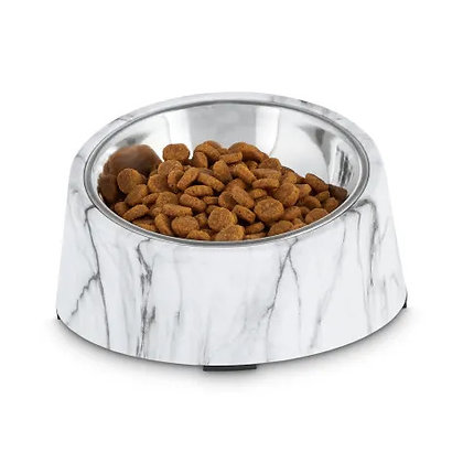 Harmony Slanted Marble Print Stainless Pet Bowl