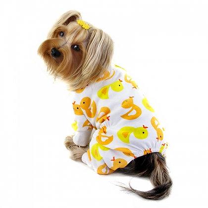 Yellow Ducky Knit Cotton Dog Pajamas