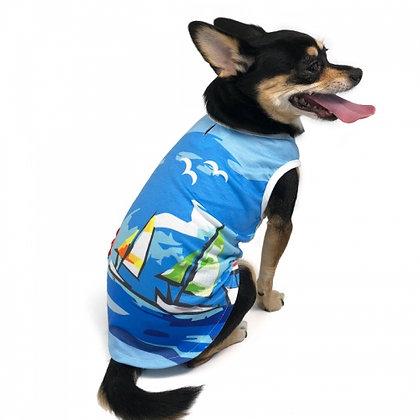 Sailboat Dog Tank Blue