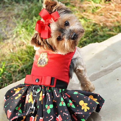 Holiday Dog Harness Dress Gingerbread