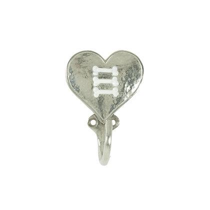 Triple Bone Heart Leash Hook Silver