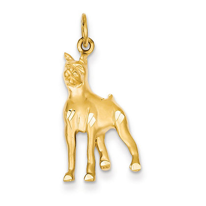 14k Yellow Gold Satin and Diamond Cut Boxer Pendant