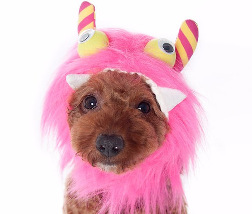 Furry Monster Dog Hat Pink