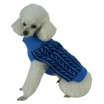 Dual Color Cable Knit Ribbed Dog Sweater Blue