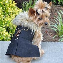 Wool Fur-Trimmed Dog Harness Coat Chevron