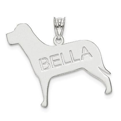 14K White Gold Personalized Dog Name Pendant