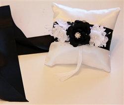 Couture Wedding Ring Bearer Pillow Black/White