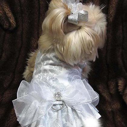 Delovely Damask Dog Harness White
