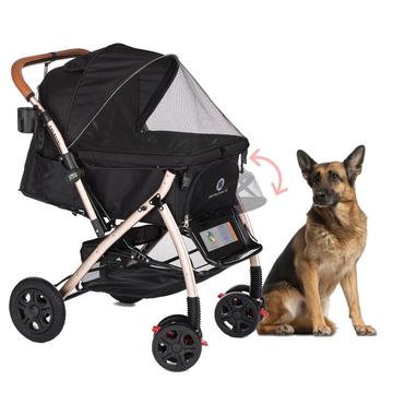 Pet Rover Extra Long Premium Dog Stroller Black