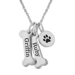 Double Dog Bone and Paw Charm Pendant