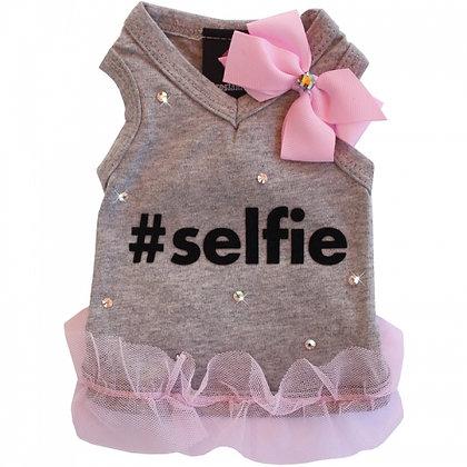 #Selfie Sweetheart Grey Dog Tank With Swarovski Crystals