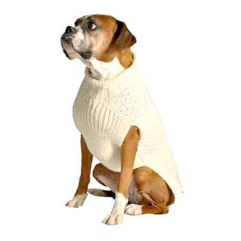 Natural Cable Wool Dog Sweater