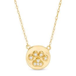 Diamond Paw Print Necklace 10 K Gold