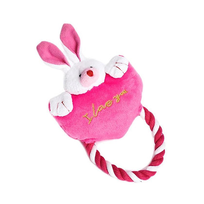 Dog Toy Heart to Heart Bunny Rope Pink