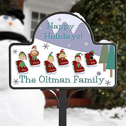 Happy Holidays Sledding Family Magnetic Garden Sign