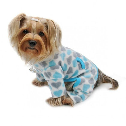 Blue & Gray Hearts Fleece Turtleneck Dog Pajamas