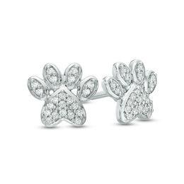Diamond Paw 10K White Gold Stud Earrings