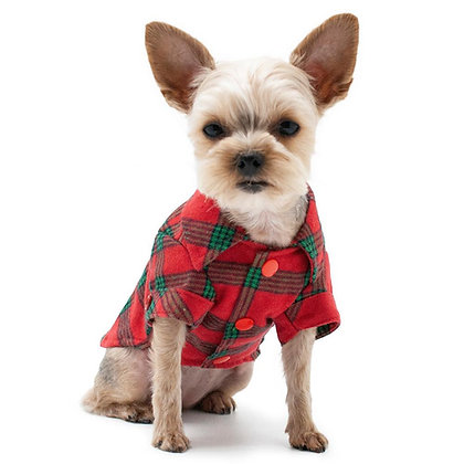Flannel Button Down Dog Shirt Red & Green