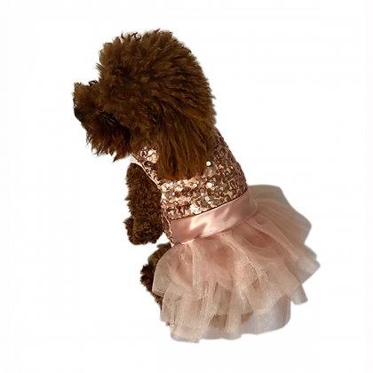 Fufu Tutu Marilyn Dog Dress Rose Gold Sequins