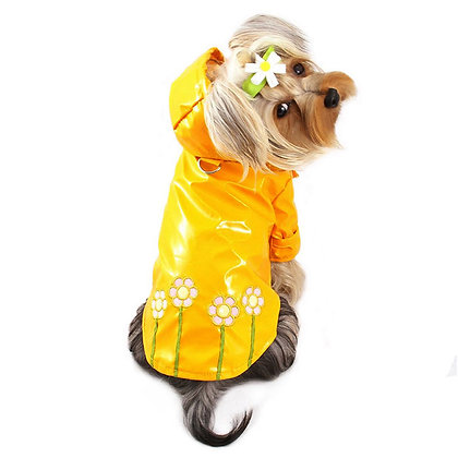Polka Dot and Daisies Dog Raincoat