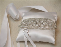 Rhinestone White Couture Wedding Ring Bearer Pillow