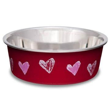 Bella Hearts Dog Bowl Valentine Red