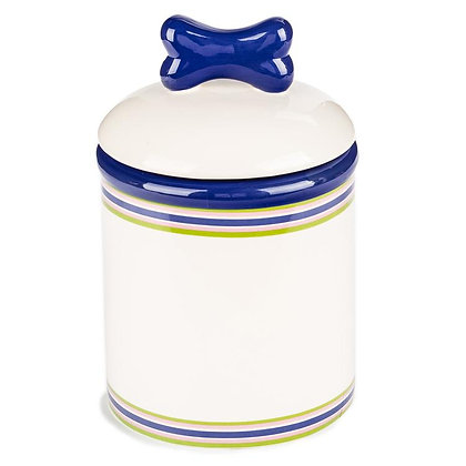 Striped Ceramic Dog Treat Jar