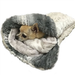 Frosted Snow Leopard Dog Sleeping Bag Bed