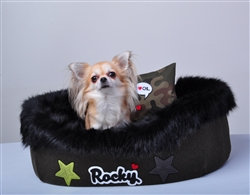 Personalized Rocky Luxury Faux Fur Dog Bed