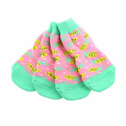 Non-Skid Dog Socks Pink Pineapple
