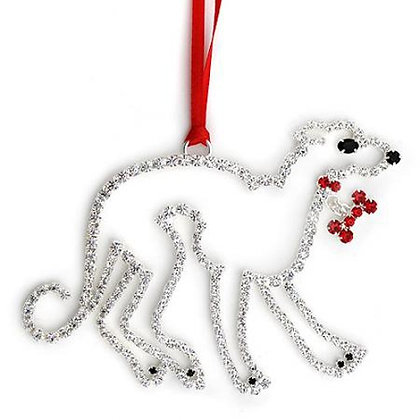 Crystal Greyhound Christmas Ornament