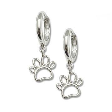Sterling Silver Open Paw Hoop Earrings